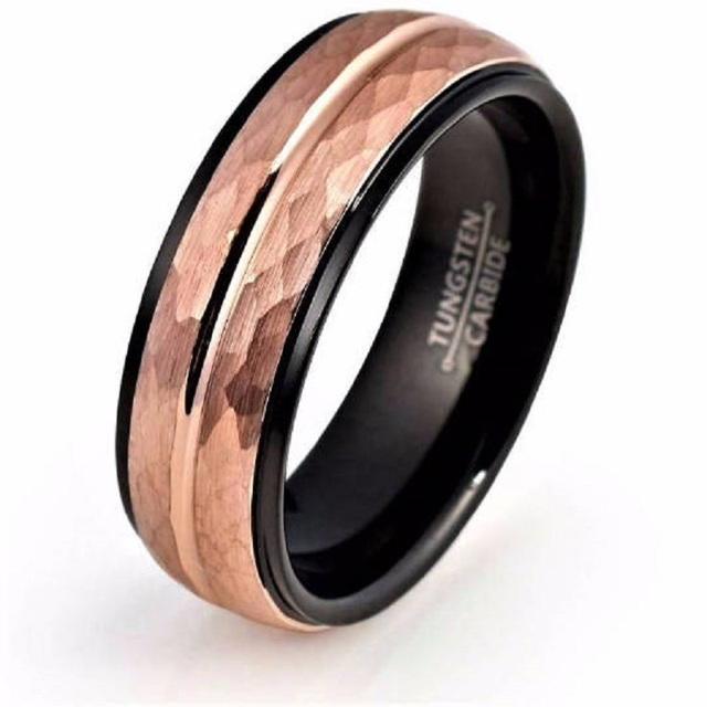 Customized 8mm Menu0027s Tungsten Carbide Wedding Ring Rose Gold Hammer Surface  Black Inside