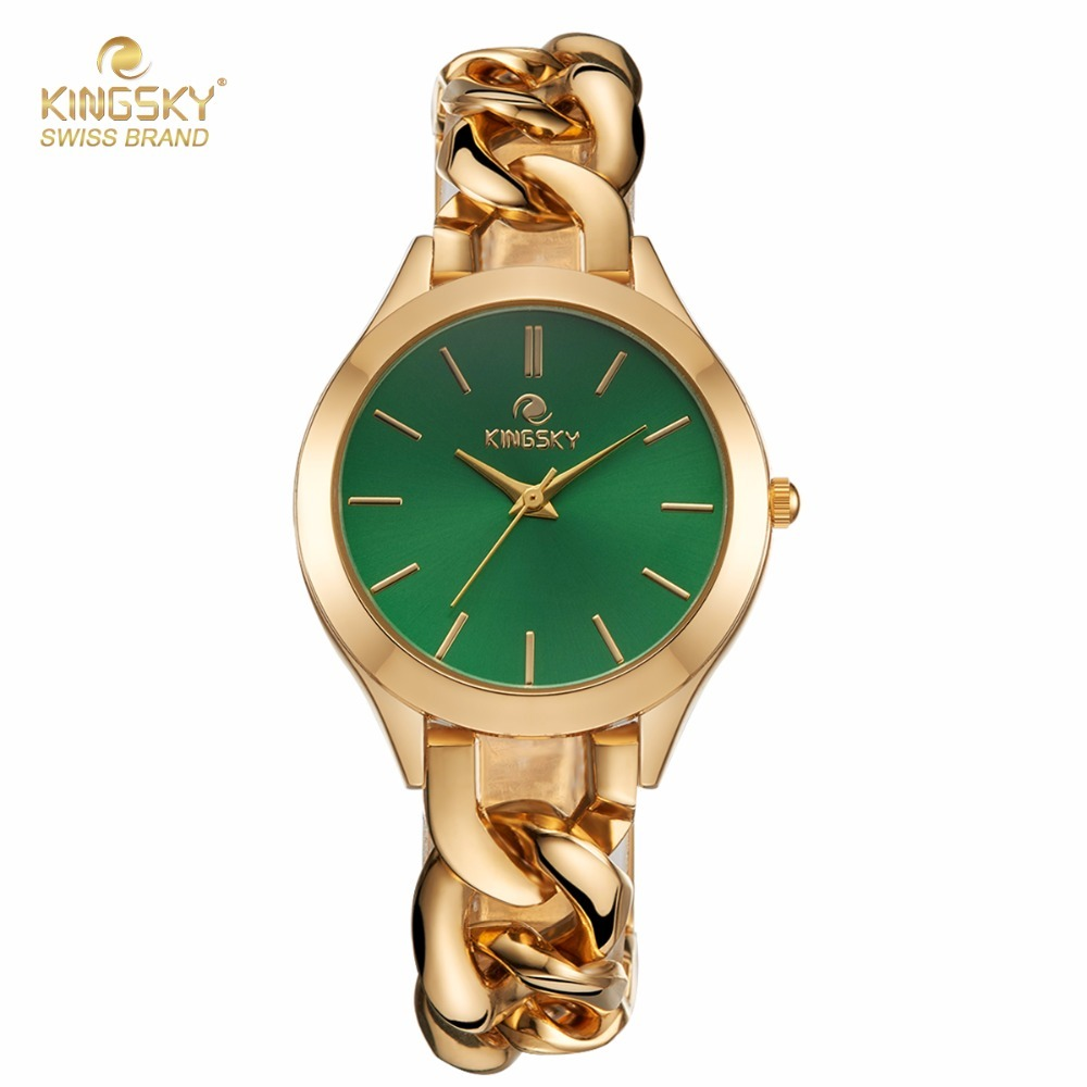 Top Brand KINGSKY Women Watches Small Lady Wrist Watch Fashion Gold Round Case Green Dial Japan Movement Quartz Clock 2017 New feifan brand watches fashion sport watches for women new arrival 2016 high quality quartz watches japan movement case fp135