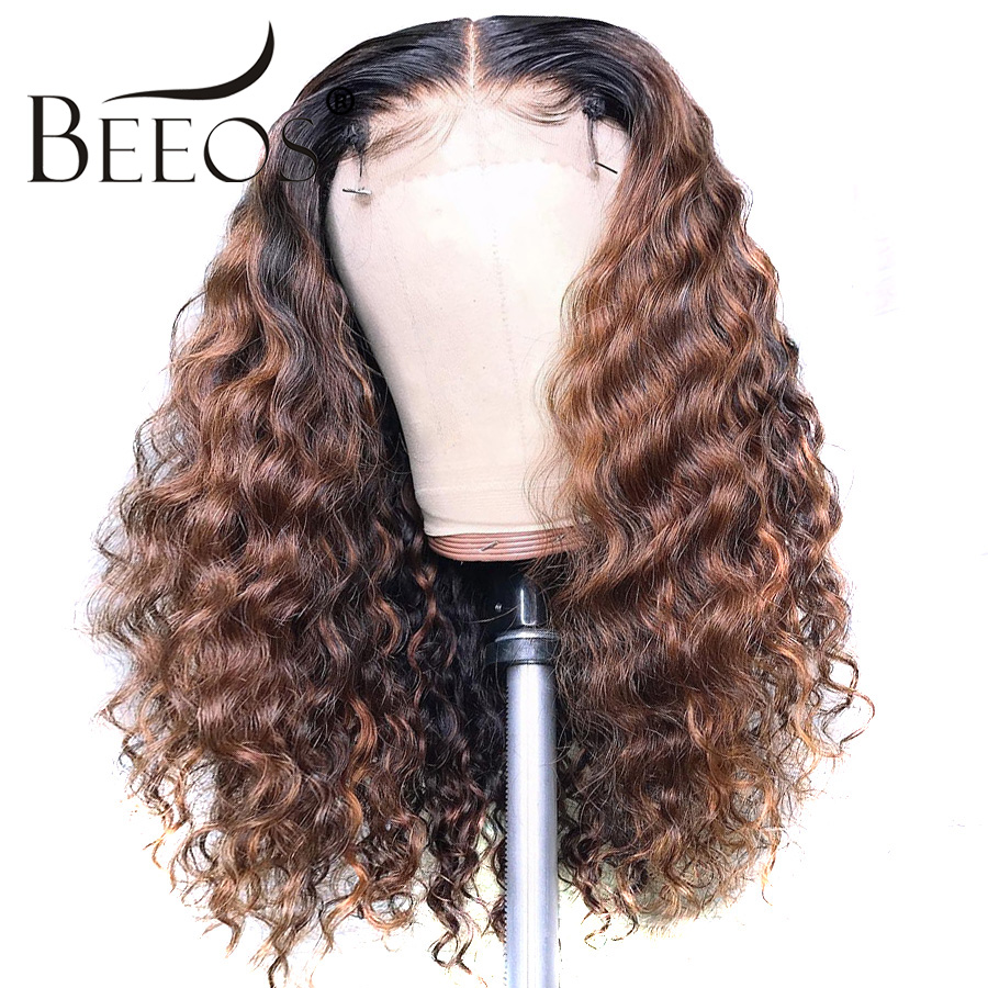 Beeos Ombre Honey Blonde 13*6 Lace Front Human Hair Wig Peruvian Remy Curly Hair Colored Wigs Preplucked Hairline With Baby Hiar