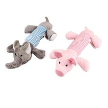 DHDL-2pcs Dog Chew Squeaky Toys Plush Squeak Pet Puppy Elephant+Pig
