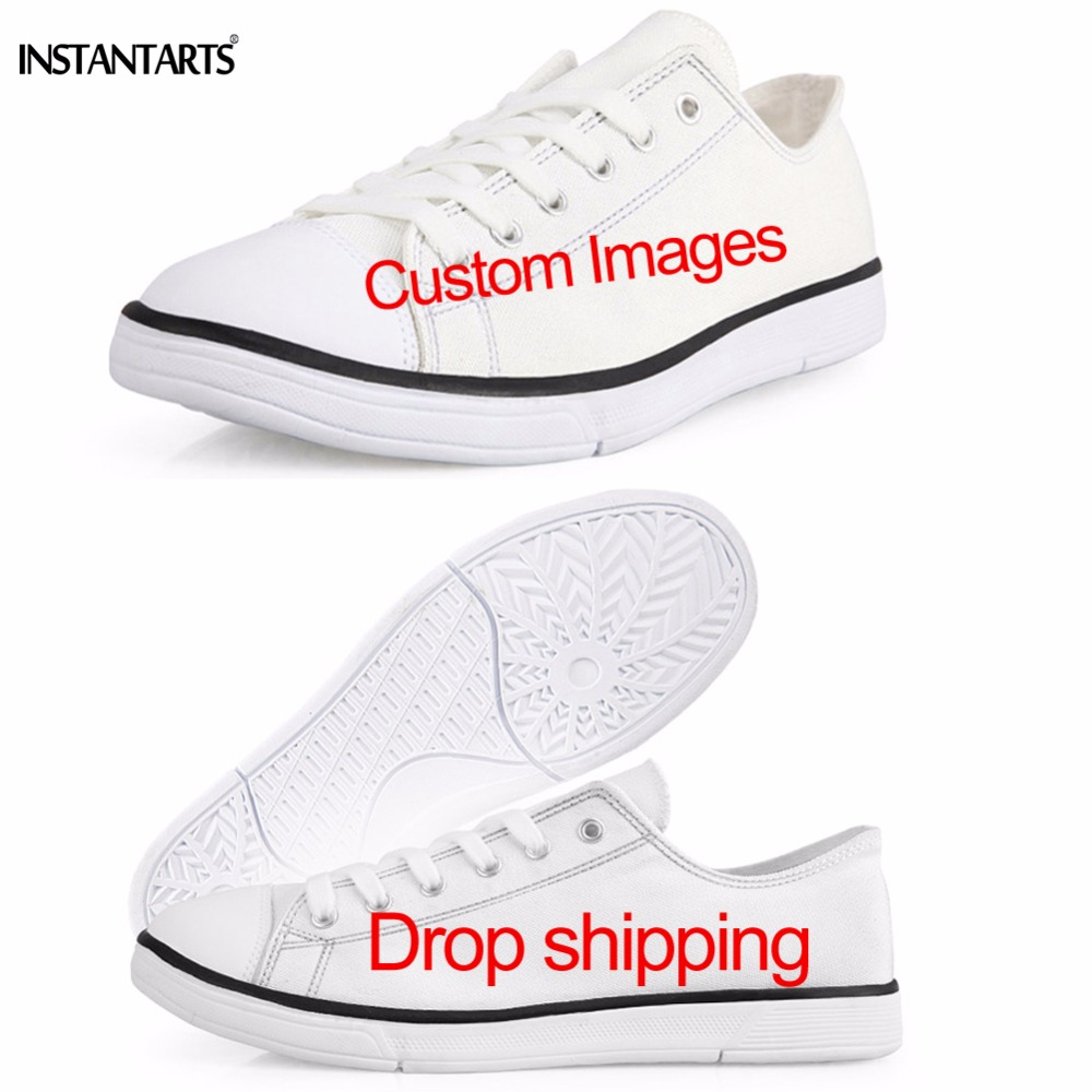 INSTANTARTS Classic Men's Low Style Canvas Shoes Customized Images Lace Up Vulcanize Shoes Dropshipping Men Student Boys Flats