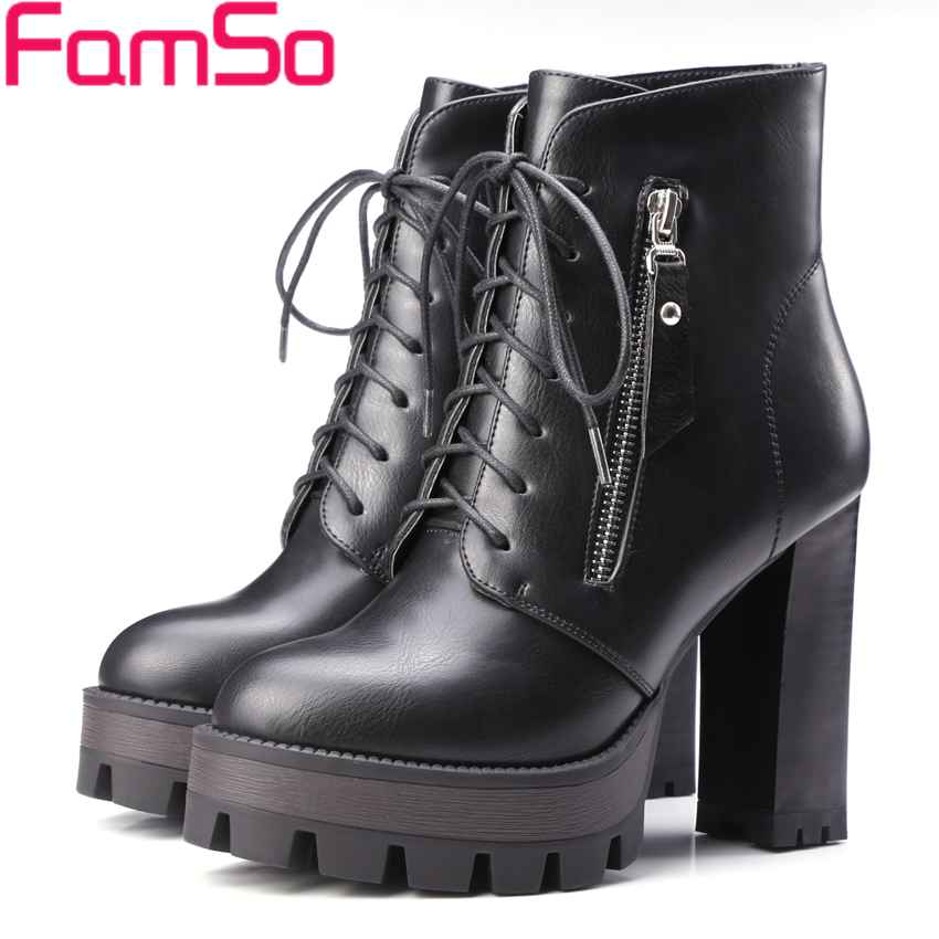 ФОТО Big Size 34-43 2017 new Shoes Ankle Boots For Women Lace-up Shoes Platforms Pumps Winter High Quality Winter Ankle Boots ZWB3877