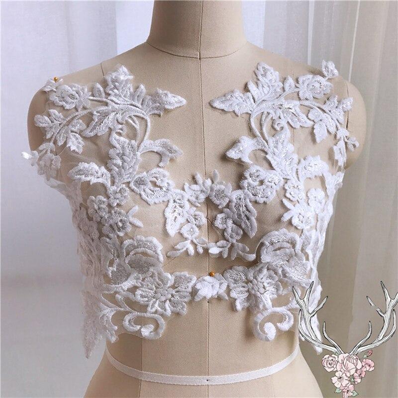 1Pair Embroidered Flower Lace Applique Motif Trim Wedding Dress Sew Crafts DIY 4