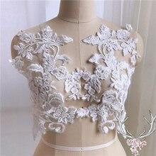 4-10Pieces Cotton Lace Applique Flower Lace Trim Sequins Appliques DIY Crafts Material For Wedding Dress 28x34.5cm
