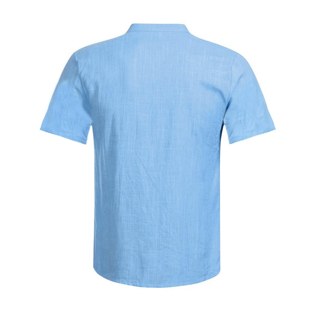 Men's Casual Blouse Cotton Linen shirt Loose Tops Short Sleeve Tee Shirt S-2XL Spring Autumn Summer Casual Handsome Men Shirt 17