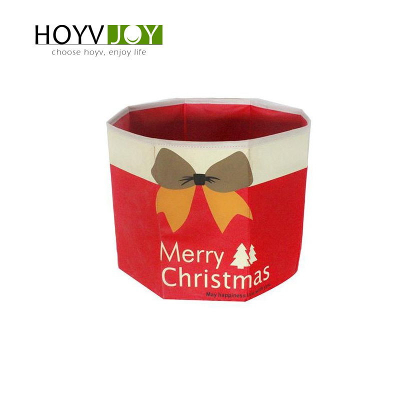 Non-woven Christmas tree skirt foldable Merry letter bow decoration New Year HOYVJOY