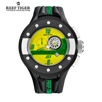Reef Tiger/RT Mens Chronograph Sport Watches Dashboard Dial Quartz Movement Watch with Date Stop Watch Green Yellow RGA3027 eco friendly green sandal wood watches mens quartz wooden watch with date