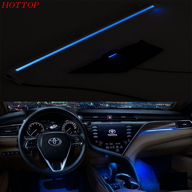 Car Styling Car Refit Co-pilot Atmosphere Light Lamp Interior Ambient Optical Fiber Bright For Toyota Camry 2017 2018 XV70