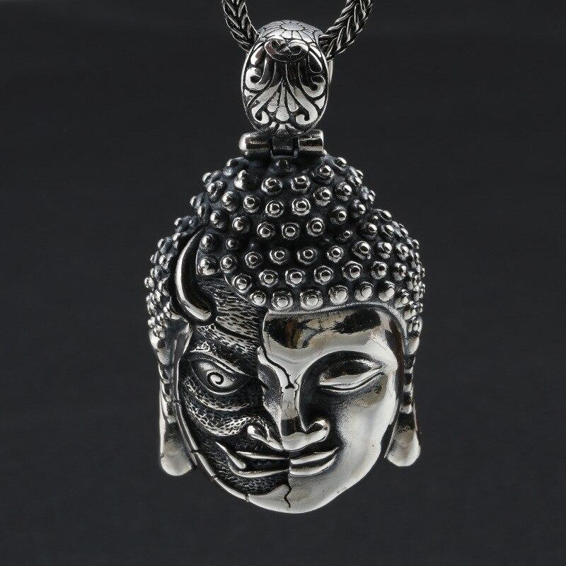 Takı ve Aksesuarları'ten Sallantılı kolye'de 100% 925 Gümüş buda kolye Kolye Iblis Kolye Iyi Şans Tibet Kolye Kolye'da  Grup 2