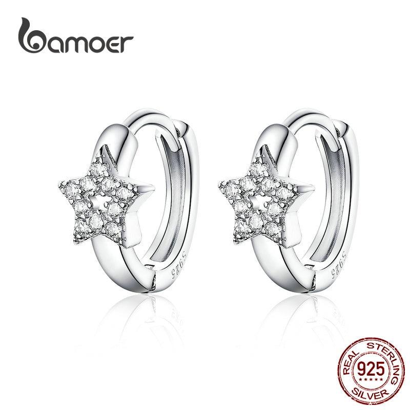 Bamoer 3 estilos pendientes de aro de Plata de Ley 925 lindo gato estrella redonda pequeña aros para la joyería de las mujeres, regalos para chica BSE172