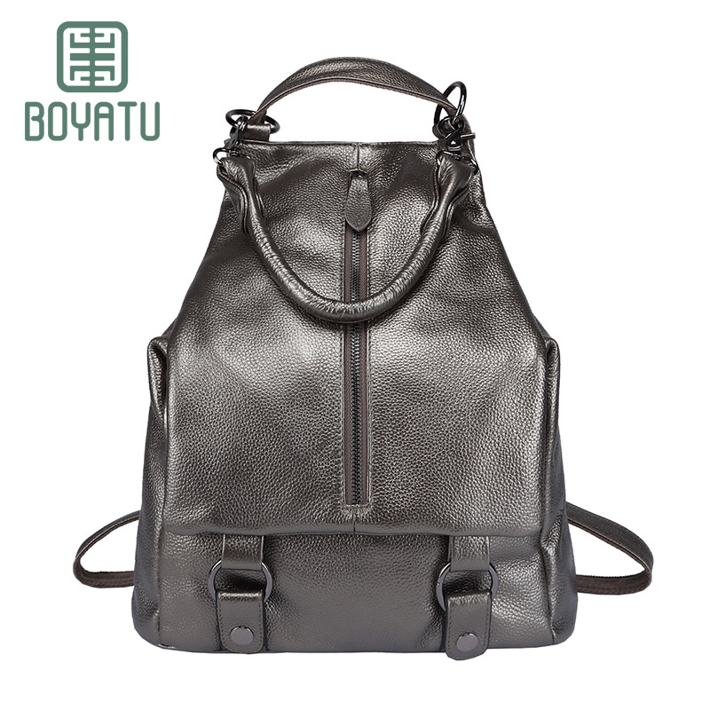 BOYATU Mochila Feminina Genuine Leather Backpack Rucksack Designer Backpack Female Sac A Dos Shoulder Bag For Women 2018 3 Way 2016new rucksack luxury backpack youth school bags for girls genuine leather black shoulder backpacks women bag mochila feminina