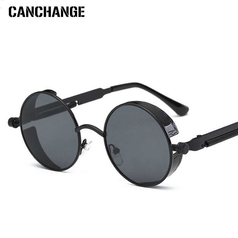 ad33b7a9501 CANCHANGE Cool Retro Gothic Steampunk Glasses Women Men Sunglasses Coating  Mirrored Sunglasses Round Circle Gafas oculos