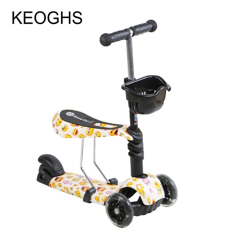 Prix pour Enfants de kick scooter bébé Bande Dessinée 3in1 PU 3 roues Clignotant extérieur sport Musculation