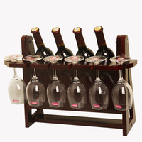 High grade Modern Simple Wooden Integral type Folding Red Wine Rack Can Holder 4 Wine Bottles and 6 Wine Cups