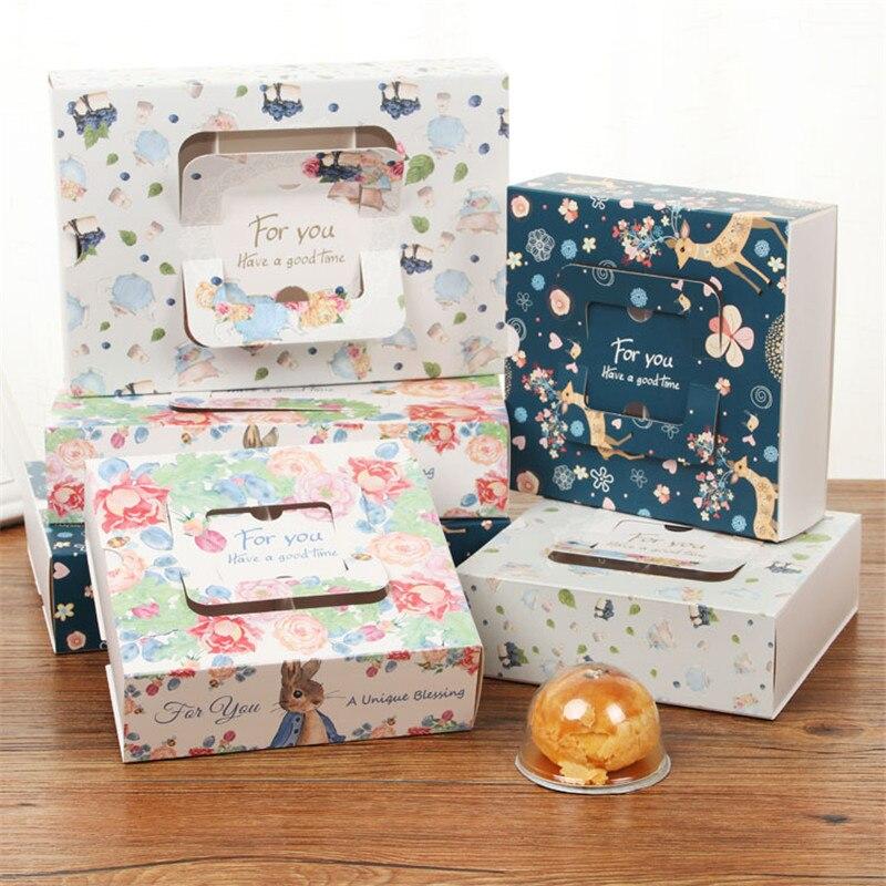 100 pcs Fashion Draagbare Bloem Wapiti Elanden Ontwerp Bakken Maan Cake Verpakking Gift Lade Box Voor Eigeel Scherpe Biscuit takeaway-in Geschenktasjes & Inpak Benodigheden van Huis & Tuin op  Groep 2