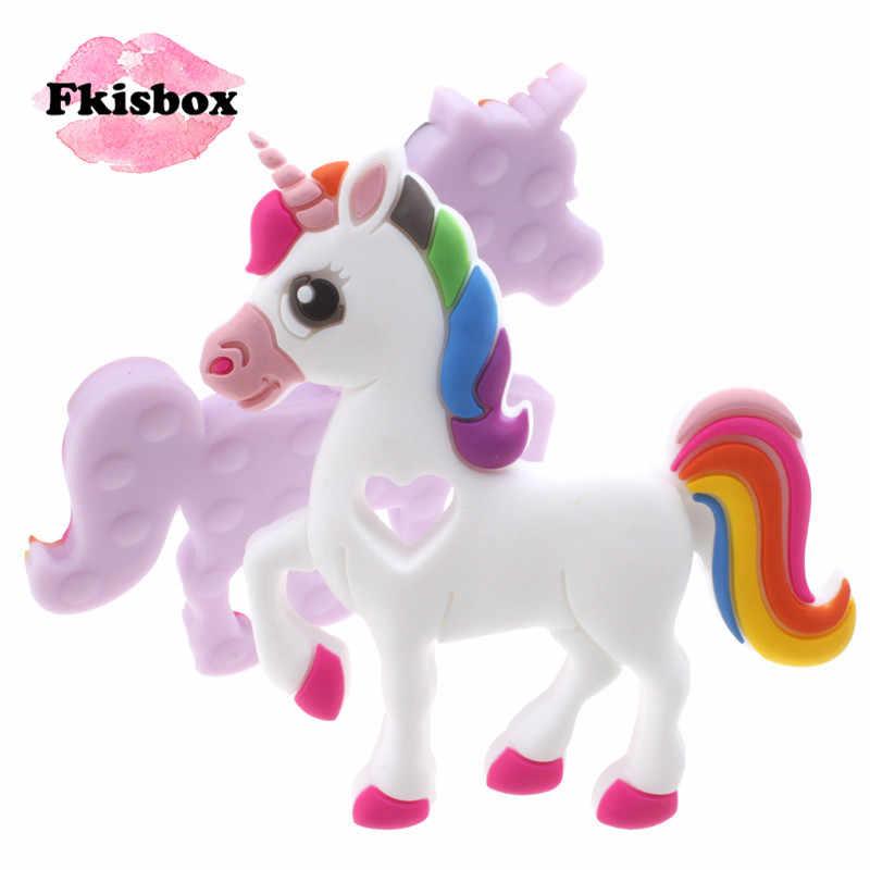 Fkisbox 2 шт. мультфильм Единорог силиконовый безопасный Прорезыватель для зубов