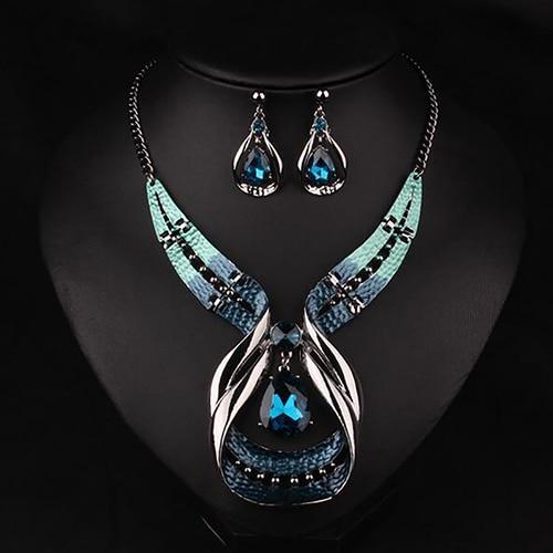 Colgante de cadena para mujer, Gargantilla, collar con pechera, pendientes, conjunto de joyería para mujer, boda 2020 2