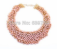 Bulk Price xl00419 Voluminous Of Pink Faux Simulated Pearl Blossoms Necklace Bridesmaid Fine Jewellery