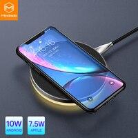 Mcdodo 10 w qi carregador de luz sem fio para iphone x xr xs max 8 carregamento rápido sem fio almofada para samsung s9 s8 + huawei companheiro 20 pro