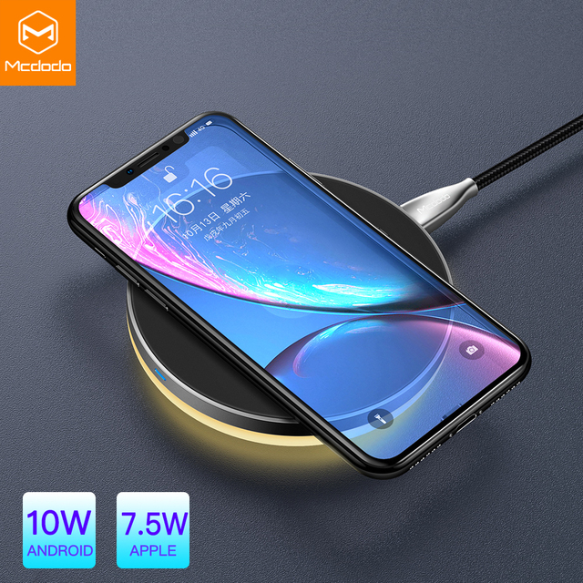 Mcdodo 10 w qi 무선 라이트 충전기 아이폰 x xr xs 최대 8 빠른 충전 무선 패드 삼성 s9 s8 + 화웨이 메이트 20 프로