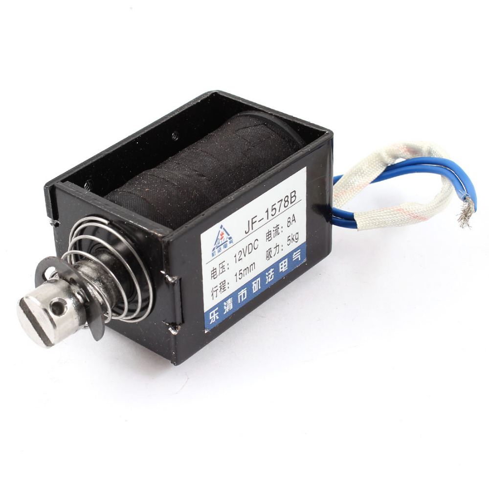 цена на UXCELL New Hot DC12V 8A 15mm/5Kg Push Pull Type Open Frame Spring Plunger Solenoid Electromagnet Actuator used in vending