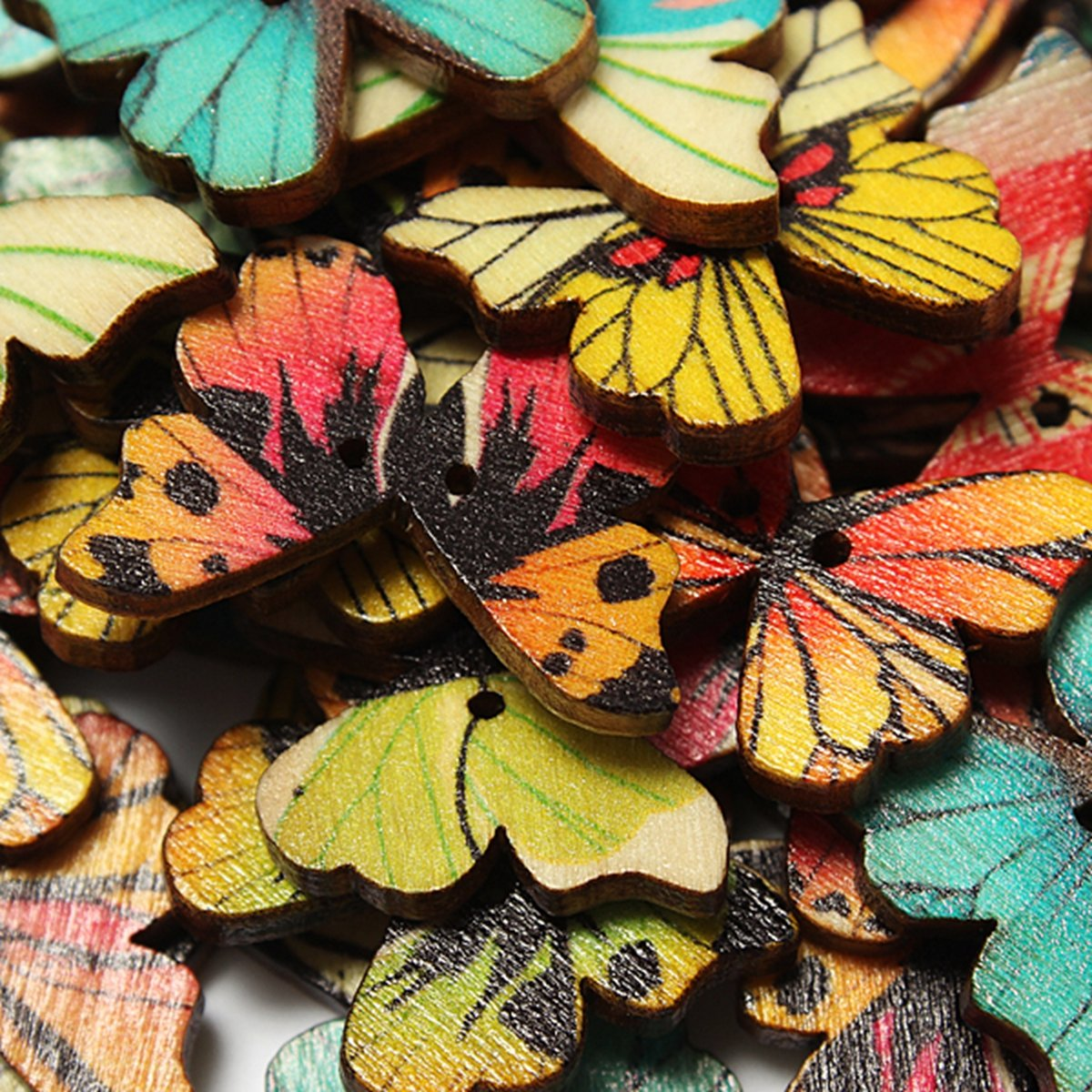 Shoes accessories 50pcs 2 Holes Mixed Butterfly Wooden Button Sewing Scrapbooking DIY Craft
