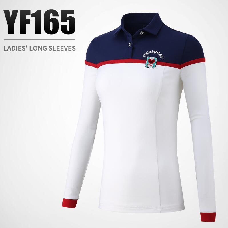 PGM dames automne hiver golf sportswear couture couleur rayé à manches longues golf T-shirt femmes slim respirant Golf chemise