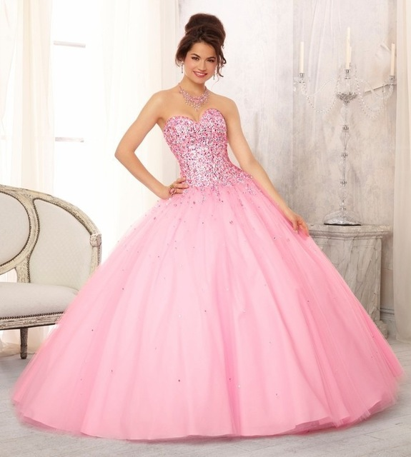 78a04ef54e3 Peach Hot Light Pink Quinceanera Dresses Debut Ball Gowns Custom Made  Sweetheart Sequins Sweet 16 Dresses