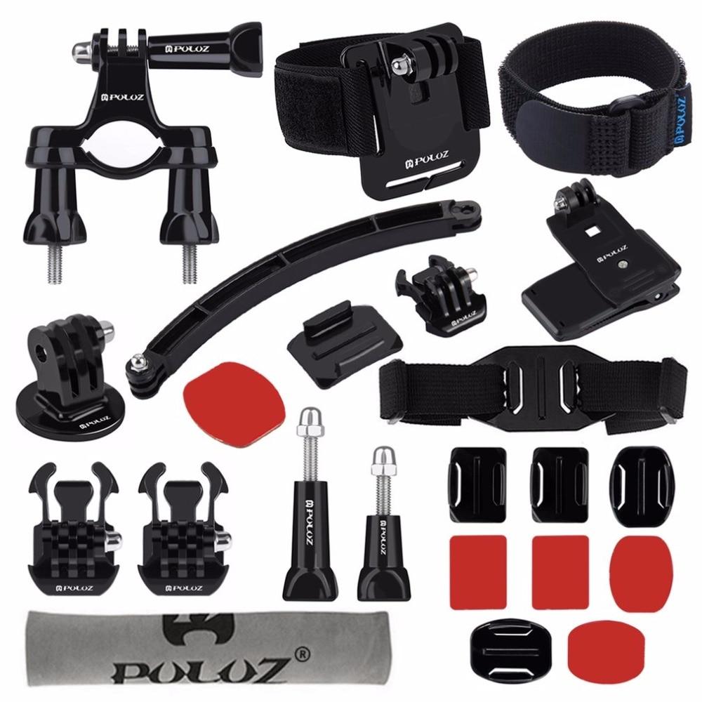 PULUZ 24 en 1 Montaje en bicicleta casco brazo de extensión hebillas de liberación rápida superficie montajes Combo Kit para GoPro HERO5
