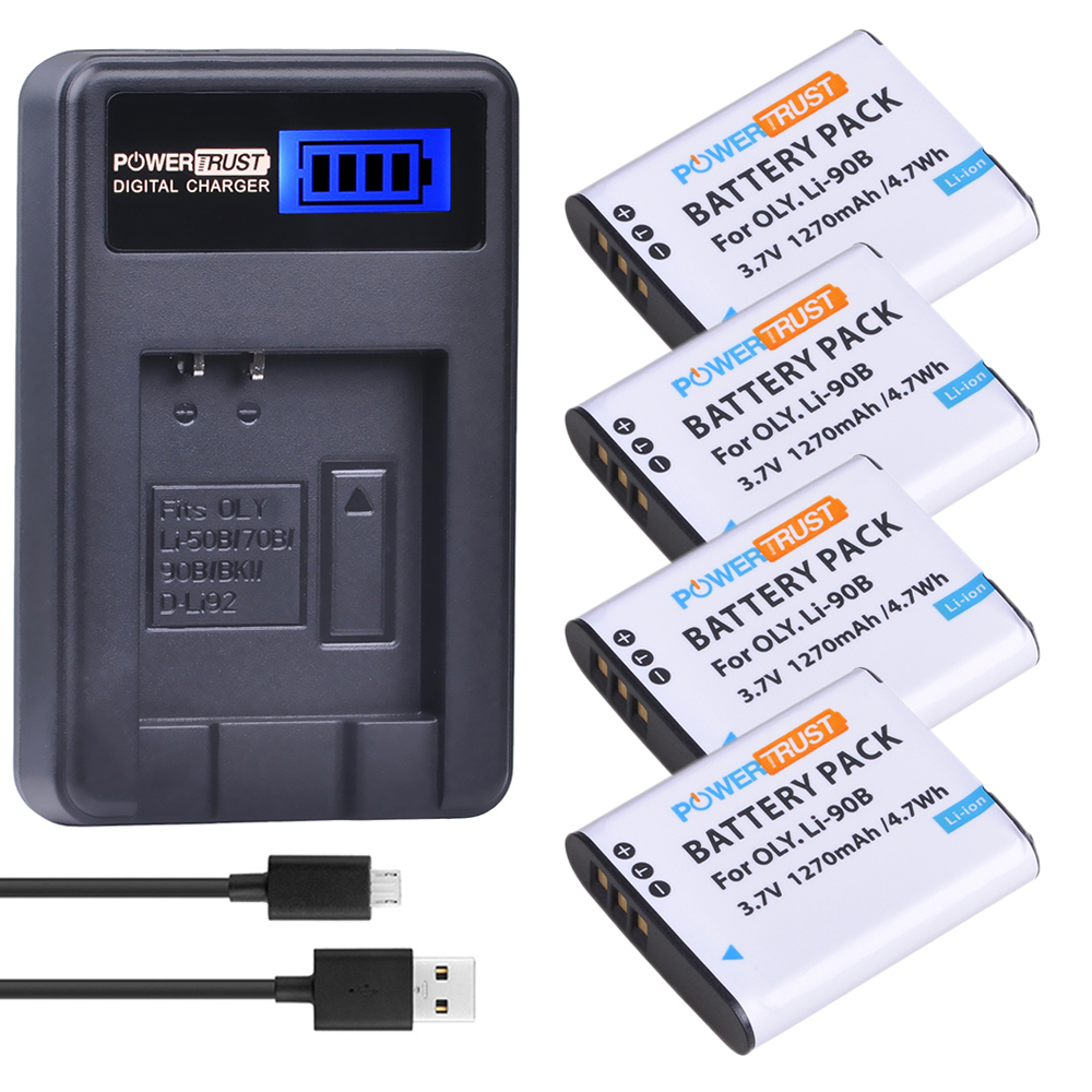 4 Pack LI 90B LI 90B LI90B LI 92B Camera Battery LCD USB Charger for Olympus