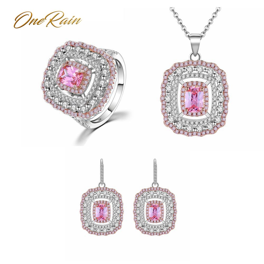 OneRain Vintage 100% 925 Sterling Silver Set Pink Sapphire Gemstone Jewelry Sets Necklace/Earrings/Ring Party Cocktail WholesaleOneRain Vintage 100% 925 Sterling Silver Set Pink Sapphire Gemstone Jewelry Sets Necklace/Earrings/Ring Party Cocktail Wholesale
