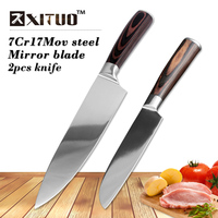XITUO NEW High Quality 5 8inch 2pcs 7CR17Mov Paring Utility Cleaver Chef Bread Knife Stainless Steel