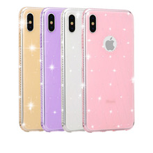 Girls Shinning Glitter Jewelled Phone Cases for iPhone X XR XS MAX Show Apple Loge Bling Case 6 6s plus7 8 Plus Back Cover