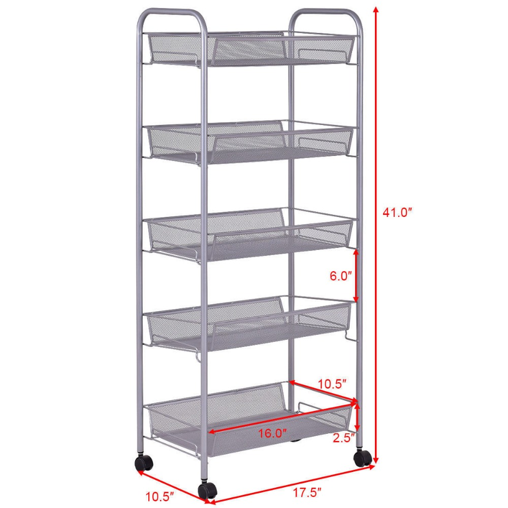 Mesh Rolling File Utility 5 Tier Cart Home Office Kitchen Storage Basket 8
