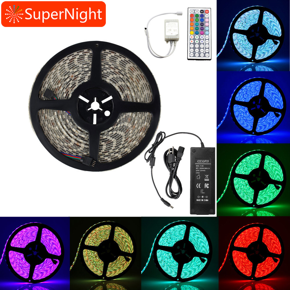 5050 SMD 20 Colors LED Strip Light Kit DC 24V 10M 600LEDs Waterproof Flexible RGB LED Lamp Band with IR Remote Controller Dimmer