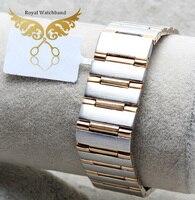 22 мм Новый высокое качество начесом Чистая нержавеющая сталь K золото ремешок для часов ПОЛОСЫ ремешок Браслеты Бесплатная доставка
