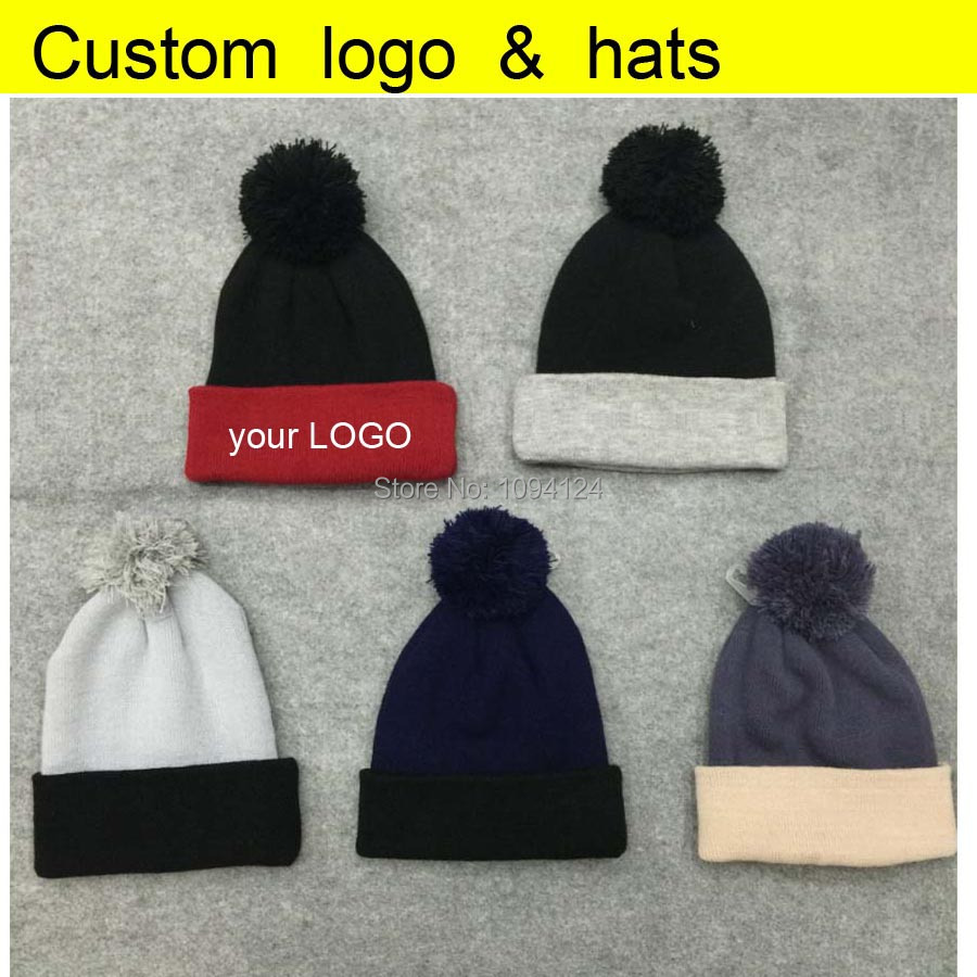 50PCS A lot Customized Beanies knitted Hats embroidery LOGO custom Winter Skullies with ball Adults Patch Cap LOGO Patch leather skullies cap hats 5pcs lot 2278