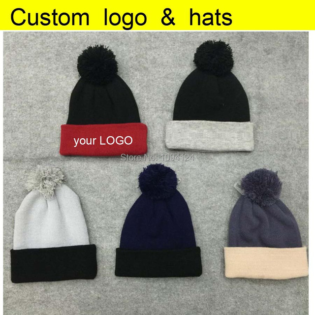 e60e8102fda 50PCS A lot Customized Beanies knitted Hats embroidery LOGO custom Winter  Skullies with ball Adults Patch Cap LOGO Patch