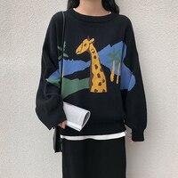 Streetwear 2018 Black Giraffe Pattern Knitted Sweater Women Autumn Long Sleeve Pullover Sweater Jumper Sweet pull femme