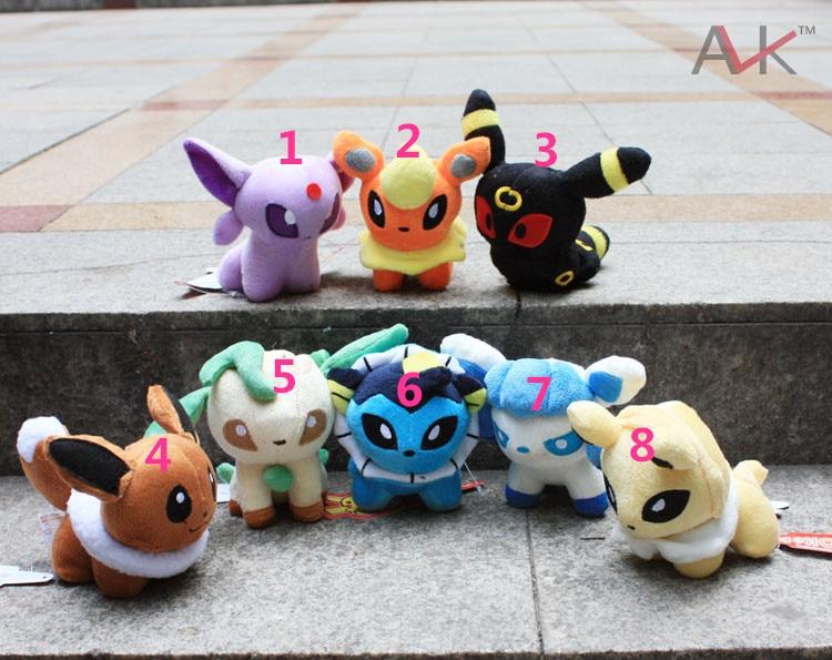 free shipping 10pcs set hot sales Movie anime 8styles pokemon plush toys baby kids security Q