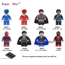 Single Building Blocks Blue Light Red Son Black Superman Zombie Spiderman Racing Suit Tony Tony Stark toys for children(China)