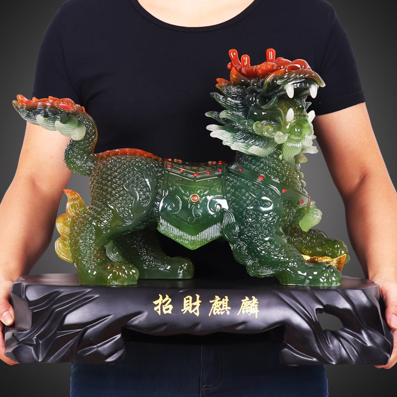 GOOD Mascot 2019 office home efficacious FENG SHUI Talisman Protection Money Drawing crystal dragon QI LIN