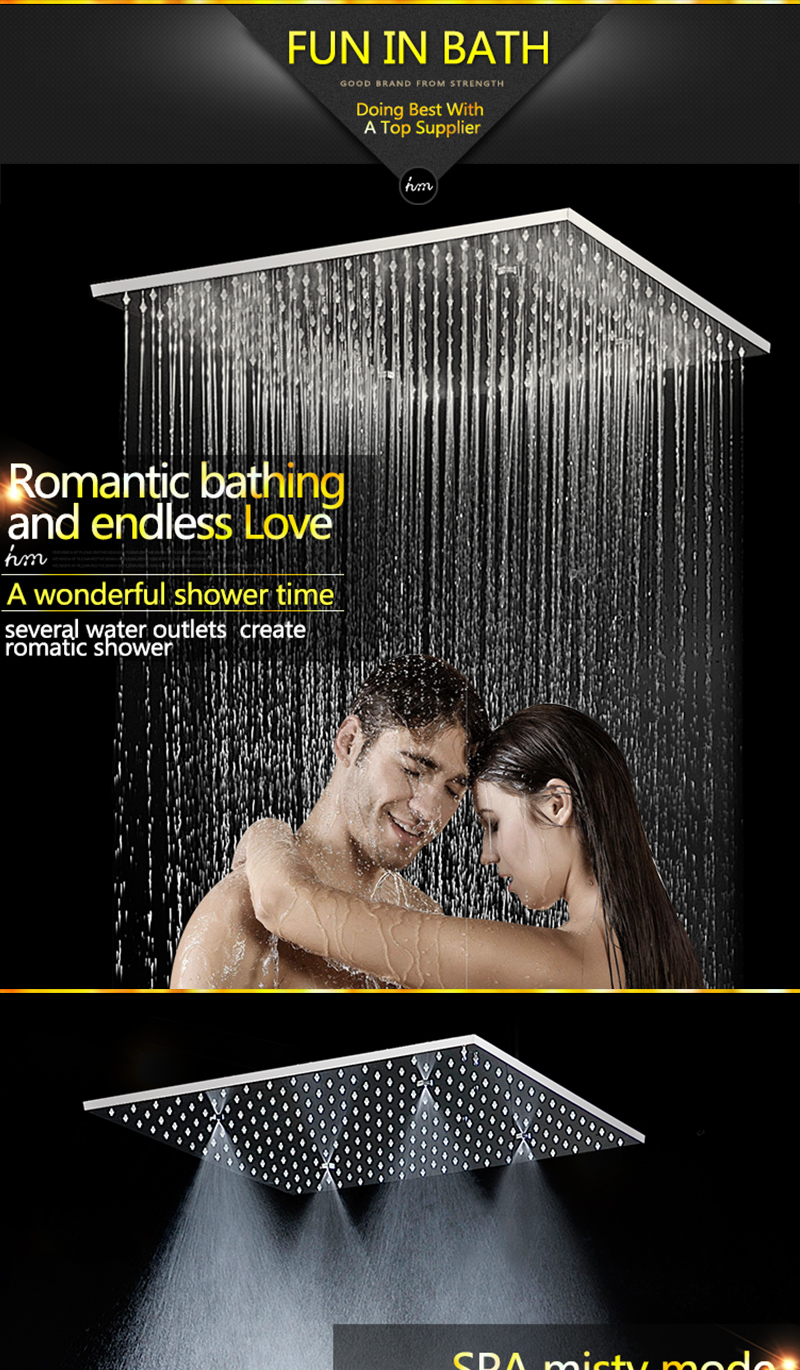 20 Shower Head Rainfall Mist SPA 4 Ways Concealed Thermostatic Shower Set 6 Massage Body Jets Panel Embedded Ceiling  2016 hm (6)