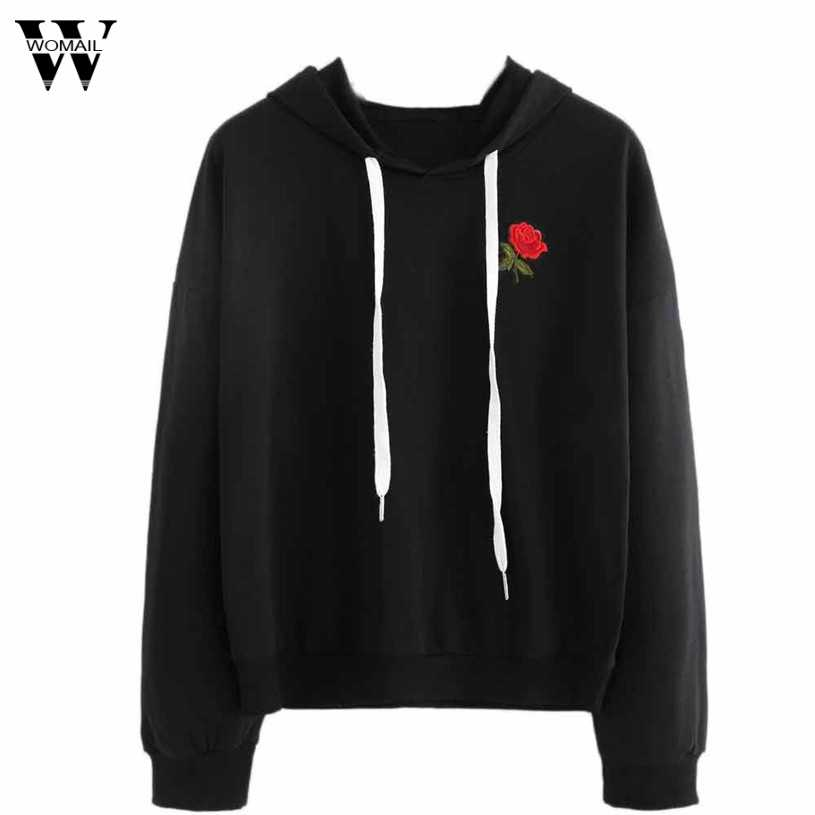 2019 #  new autumn winter hoodies women ulzzang korean clothes cute hoodie roses embroidery cotton harajuku sweatshirt