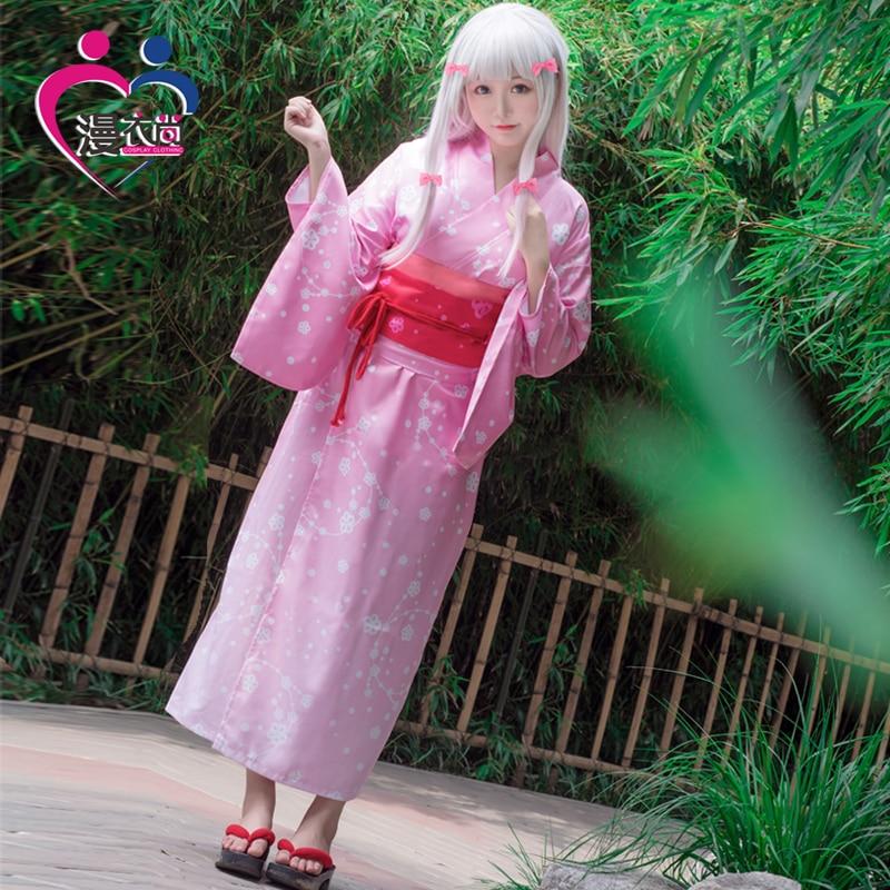 Anime Eromanga Sensei Izumi Sagiri Women Kimono Cosplay Costume Japanese Full Set Yukata Dress