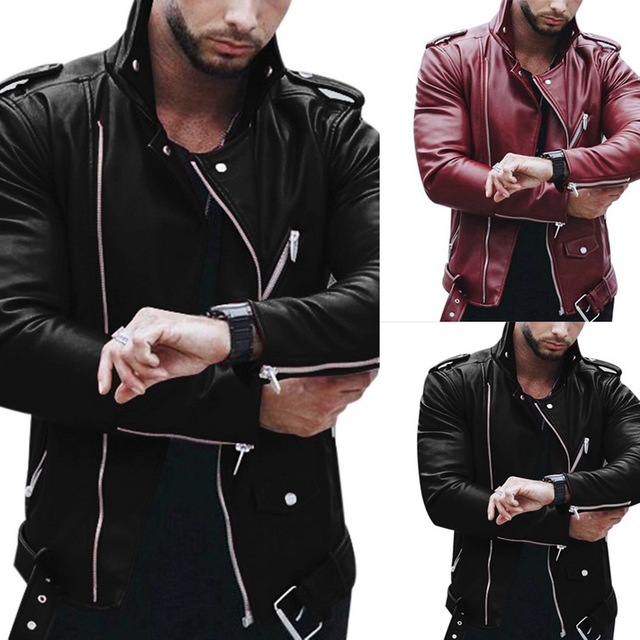 Laamei Men's Leather Large Size Spring And Autumn Men's Fashion Slim Collar Zipper Imitation Leather Coat Motorcycle Leather