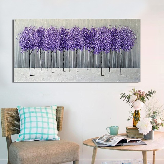 Hand Made Oil Painting On Canvas Purple Flower Tree Oil Painting Abstract  Modern Canvas Wall Art