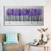 Hand Made Oil Painting On Canvas Purple Flower Tree Oil Painting Abstract Modern Canvas Wall Art Scenery Home Decor Picture