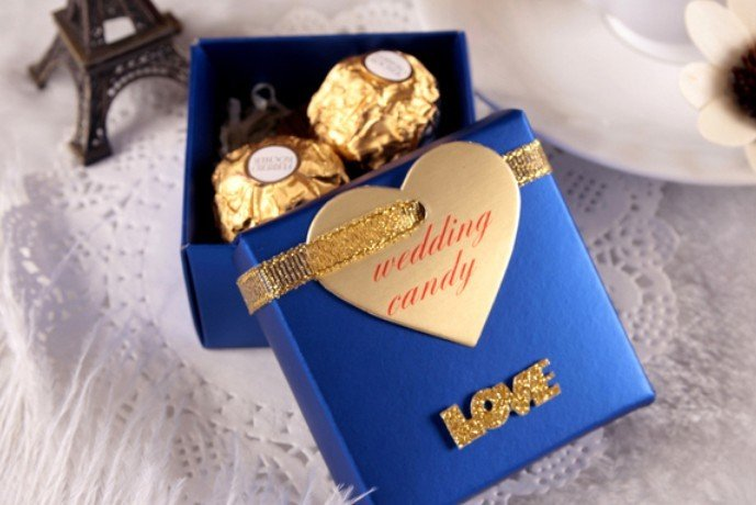 66 65 40mm Love Royal Blue Candy Favor Bo With Wedding Heart Tag