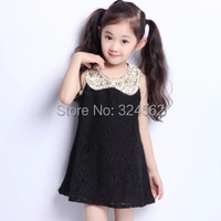 Summer Girls Sequins Lapel Lace Dresses Top Sale 2015 New Princess Children Baby Girl Clothes Black